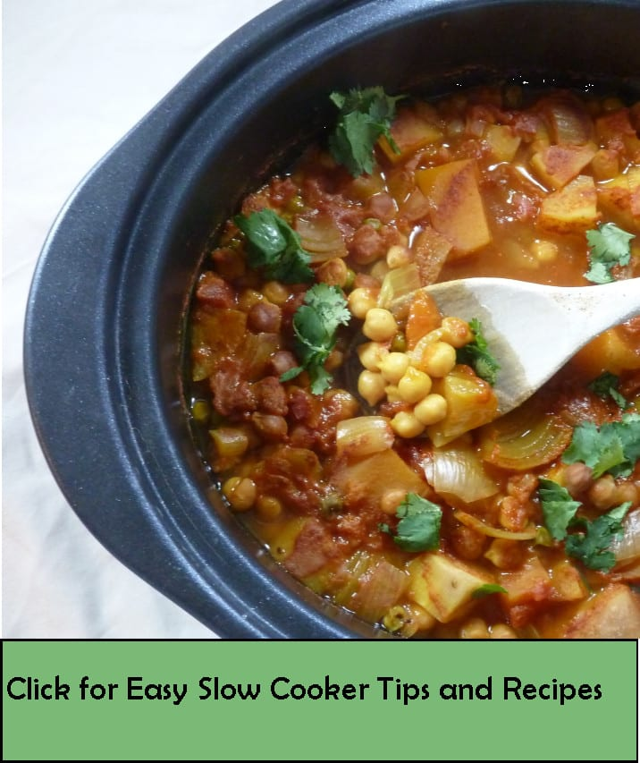 Slow cooker of curry with the words 'click for easy slow cooker tips and recipes'