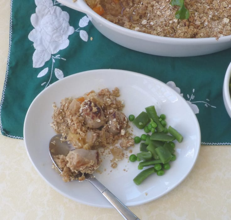 Sausage Crumble with Apple and Cheese
