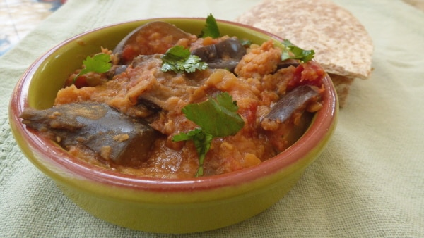 Slow Cooked Aubergine and Lentil Curry