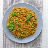 plate of lamb and lentil curry with coriander garnish