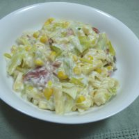 Creamy pasta with bacon, leeks and sweetorn - an easy weeknight meal from grubdujour.com