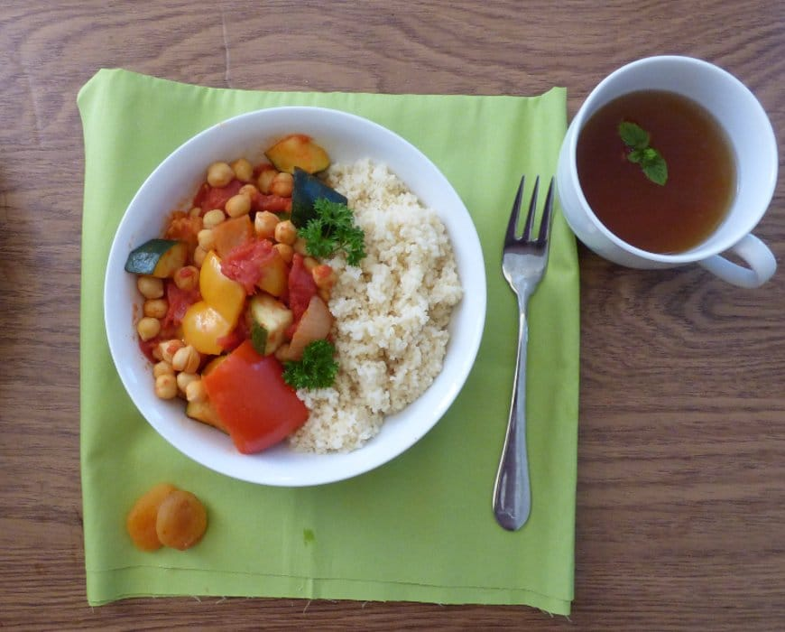 moroccan chickpea stew with mint tea and couscous