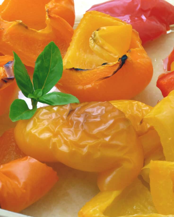 Dish of Roast Peppers with Garnish