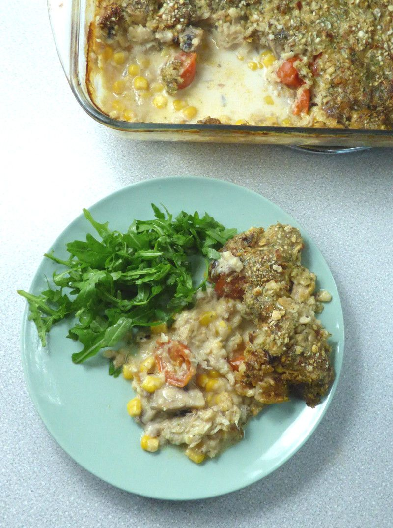 Smoked Mackerel Bake with Stuffing Topping
