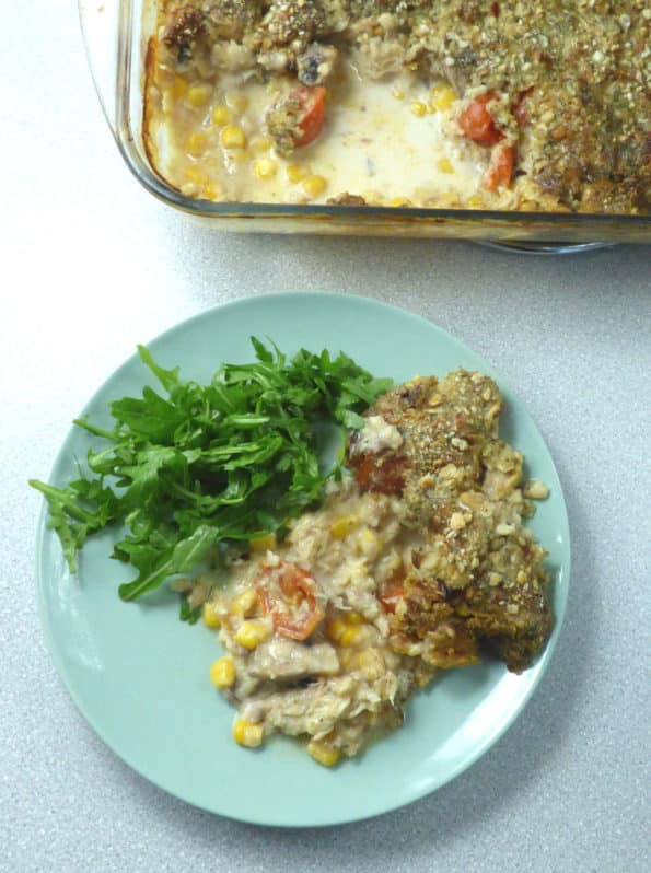 plate of mackerel bake and rocket with dish in background