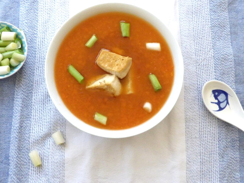 Carrot and Ginger Soup with Fried Tofu