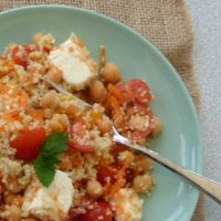 plate of couscous salad with feta