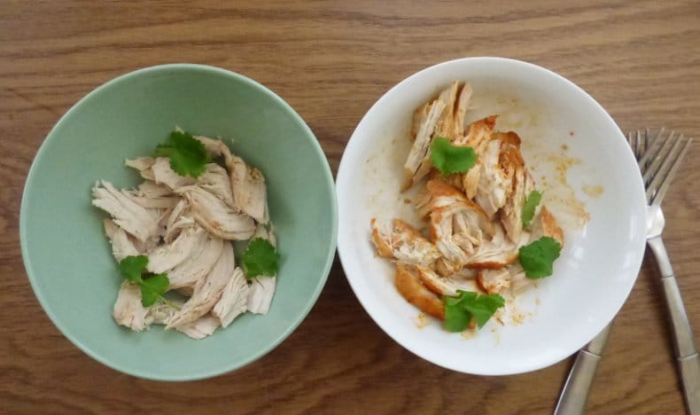 one bowl of plain 'easy shredded chicken, and one bowl of lime and paprika flavour, with coriander/cilantro garnish